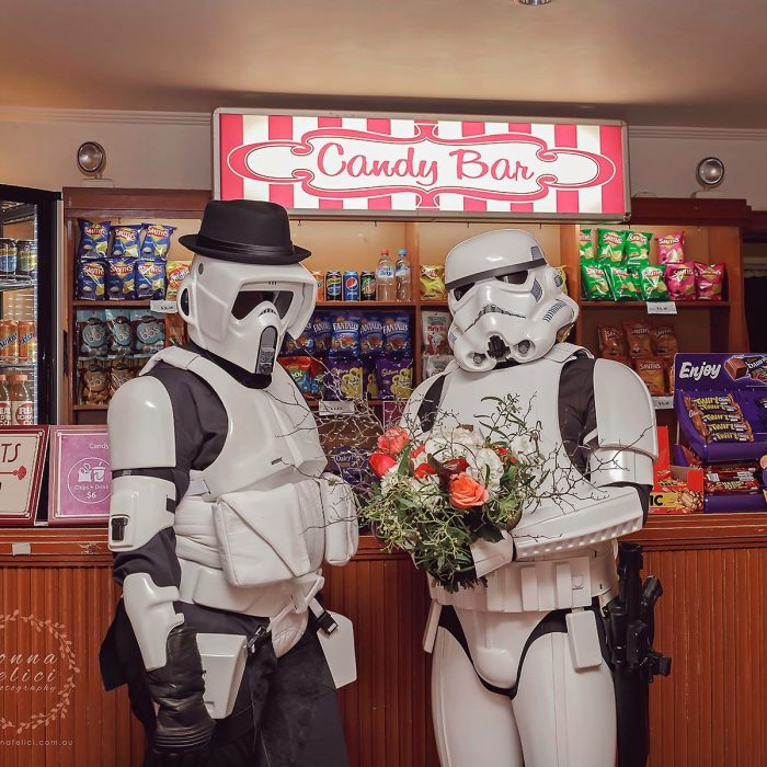 Jesse & Shauna are big Star Wars fans and got married on May the 4th (May the Force), holding their Star Wars themed reception at the Regal Theatre. Catering provided by Caro Club food truck.